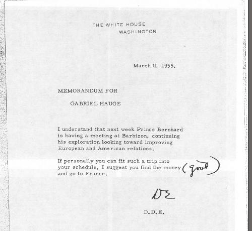 Carta del Presidente Eisenhower del 11 de marzo de 1955